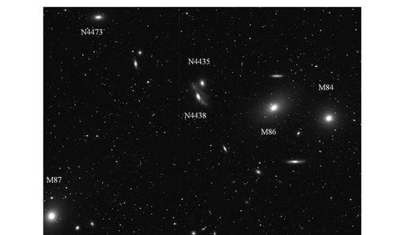 The Virgo cluster of galaxies.