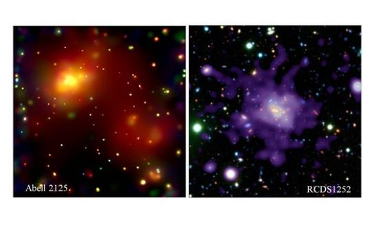 Maps of the X-ray diffuse emission in two clusters of galaxies. Credit: NASA (Chandra).