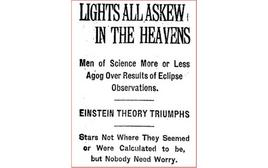 Year 1919: page of the Times reporting the observations of the light deflection during the total eclipse.