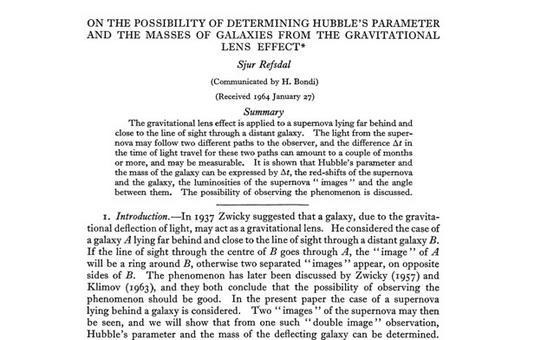 Incipit of the seminal paper by the young Sjur Refsdal, introducing the idea to measure the Hubble constant via the time delay.