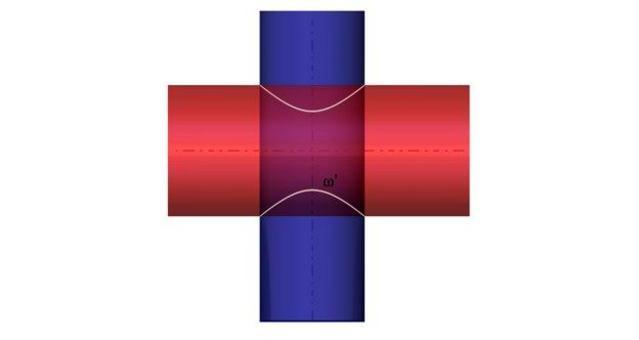 Fig. 11 – intersezione di due cilindri circolari che non ammettono due piani tangenti in comune – pianta