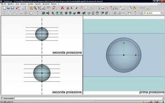Fig. 5 – sezioni piane della sfera,  paralleli – modello digitale –prima  e seconda proiezione