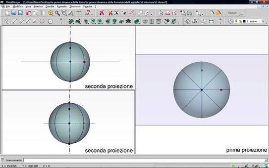 Fig. 6 – sezioni piane della sfera , meridiani – modello digitale –prima  e seconda proiezione