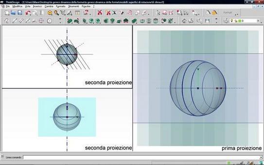 Fig. 9 – sezione di una sfera con un piano genericamente inclinato rispetto all'asse – modello digitale  prima e seconda proiezione