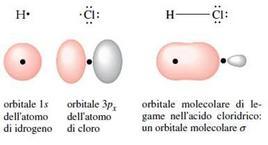 Orbitale molecolare di legame dell'acido cloridrico. Fonte: Seyhan Eğe, La Chimica Organica Essenziale, Idelson-Gnocchi, 2008