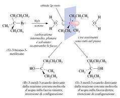Idrolisi dell'(S)-3-bromo-3-metilesano. Fonte: Seyhan Eğe, La Chimica Organica Essenziale, Idelson-Gnocchi, 2008