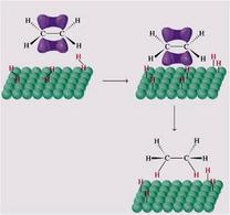 Rappresentazione schematica del meccanismo di idrogenazione di un alchene. Fonte: Seyhan Eğe, La Chimica Organica Essenziale, Idelson-Gnocchi, 2008