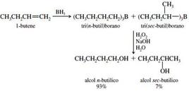 Es. di reazione di idroborazione-ossidazione. Fonte: Seyhan Eğe, La Chimica Organica Essenziale, Idelson-Gnocchi, 2008