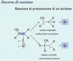 Reazione di protonazione di un alchene. Fonte: Seyhan Eğe, La Chimica Organica Essenziale, Idelson-Gnocchi, 2008