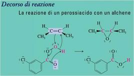 Reazione di un perossiacido con un alchene. Fonte: Seyhan Eğe, La Chimica Organica Essenziale, Idelson-Gnocchi, 2008