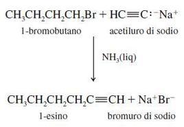 Reazione dell'anione acetiluro. Fonte: Seyhan Eğe, La Chimica Organica Essenziale, Idelson-Gnocchi, 2008