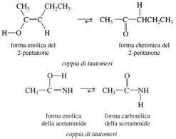 Tautomeria. Fonte: Seyhan Eğe, La Chimica Organica Essenziale, Idelson-Gnocchi, 2008