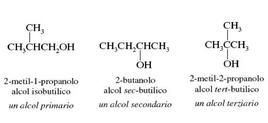 Es. di alcol primario, secondario e terziario. Fonte: Seyhan Eğe, La Chimica Organica Essenziale, Idelson-Gnocchi, 2008