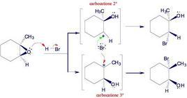 Reazione di apertura di un anello ossiranico catalizzata da acidi. Fonte: Seyhan Eğe, La Chimica Organica Essenziale, Idelson-Gnocchi, 2008
