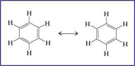 Descrizione delle possibili strutture del benzene. Fonte: Seyhan Eğe, La Chimica Organica Essenziale, Idelson-Gnocchi, 2008