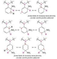 Forme limite di risonanza degli intermedi derivanti dall'attacco dello ione nitronio. Fonte: Seyhan Eğe, La Chimica Organica Essenziale, Idelson-Gnocchi, 2008