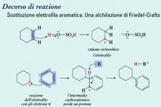 Sostituzione elettrofila aromatica. Una alchilazione di Friedel-Crafts. Fonte: Seyhan Eğe, La Chimica Organica Essenziale, Idelson-Gnocchi, 2008