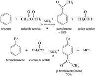 Es. di acilazione di Friedel-Crafts. Fonte: Seyhan Eğe, La Chimica Organica Essenziale, Idelson-Gnocchi, 2008