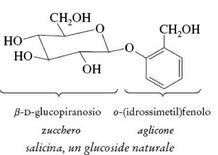 Un glucoside naturale, la salicina. Fonte: Seyhan Eğe, La Chimica Organica Essenziale, Idelson-Gnocchi, 2008