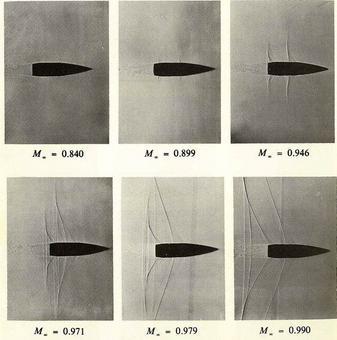 Shadowgraphs di un flusso su un proiettile in volo libero. Si noti la presenza di onde lì dove la corrente accelera.