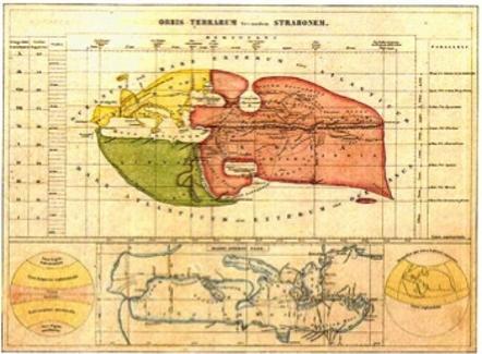 La Mappa del Mondo secondo Strabone  Fonte: Summa Gallicana