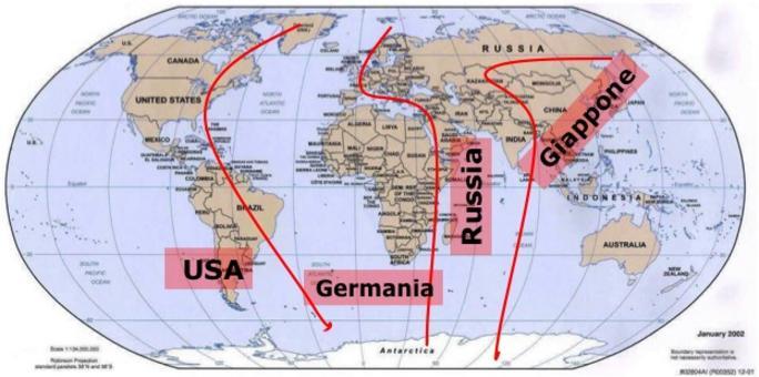 Le panregioni delle potenze dominanti. Elaborazione di Nicolino Castiello