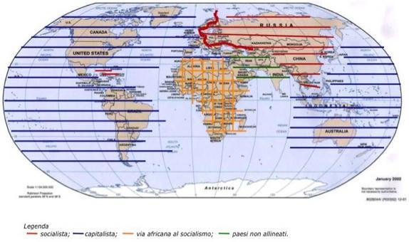 Gli accordi di Yalta e il bipolarismo mondiale. Fonte: elaborazione di Nicolino Castiello da Nuovissimo Atlante del Touring Club Italiano, 2001