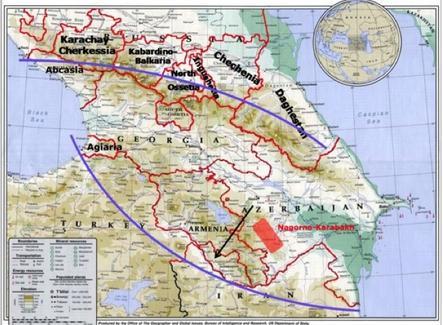 La regione Transcaucasica. Elaborazione Nicolino Castiello su fonte: Wikimedia