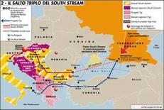 South Streem km 900 Mar Nero – Bulgaria, Grecia, Italia. Fonte: Limes 3 (2008)