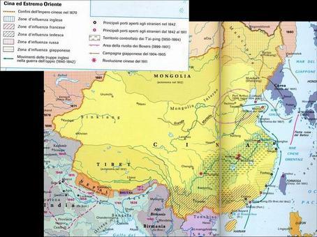 La Cina imperiale alla fine dell'Ottocento. Fonte: Nuovissimo Atlante del Touring Club Italiano, 2001