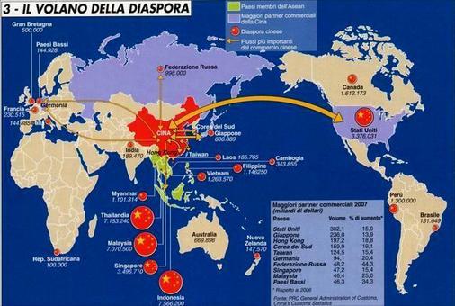 La presenza cinese nel mondo nel XXI Secolo. Fonte: Limes 4 (2008)