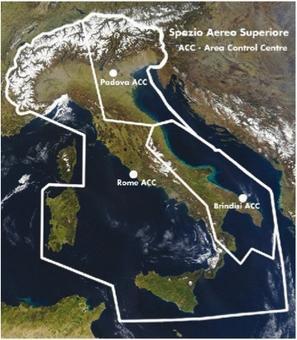 Lo spazio aereo italiano e le area di competenza per il suo controllo. Fonte: Enav
