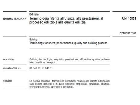 Norma UNI 10838   frontespizio testo della norma