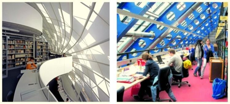 Foto a sinistra tratta da:  Foster+partners.  Foto a destra della biblioteca di Costanza tratta da: Suedkurier