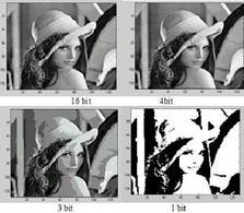 Lena: quantizzazione di immagine a da 16 4 3 1 bit.