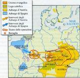 Zone di conflitto e principali battaglie durante la fase boemo-palatina
