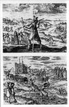 Federico V Elettore del Palatinato in veste di pellegrino (in alto) e mentre compie lavori servili