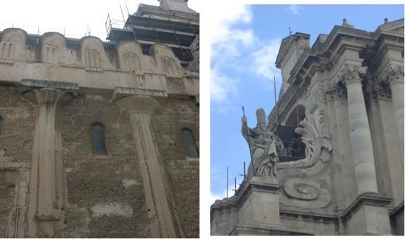 Siracusa. Foto della facciata laterale  della cattedrale costruita nel tempio greco di Attena e particolare del prospetto barocco (foto dell'a 2007).