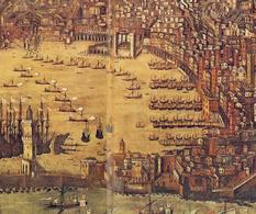 Genova città portuale medievale in un particolare della veduta urbana di rappresentazione della città nel Seicento (da T. Colletta, Napoli città portuale e mercantile…., 2006)
