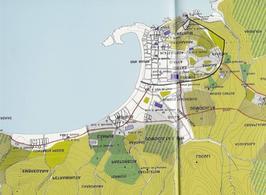 Genova. La restituzione planimetrica operata dal Poleggi della città portuale in epoca medievale (da  T. Colletta, Napoli città portuale…, cap. II).