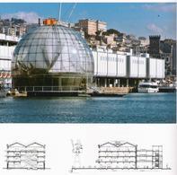 """Genova ed il fronte a mare storico con il nuovo edificio della """"Biosfera"""" nella piazza del Mediterraneo visto dal mare (da T. Colletta, 2012)."""