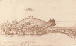 Gaeta città portuale. Veduta prospettica dal mare dell'inizio del Seicento (da T. Colletta, 2005)