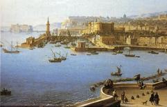 Napoli.  Il fronte a mare storico fino a Castel dell'ovo con la lanterna e la darsena in un dipinto tardo settecentesco.