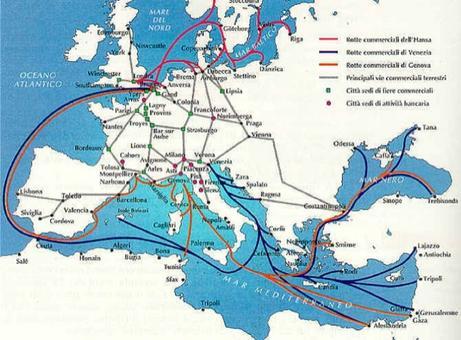 La mappa dell'Europa e del Mediterraneo mette in evidenza con i diversi colori le differenti rotte commerciali marittime e i punti di partenza ed arrivo nelle città portuali.