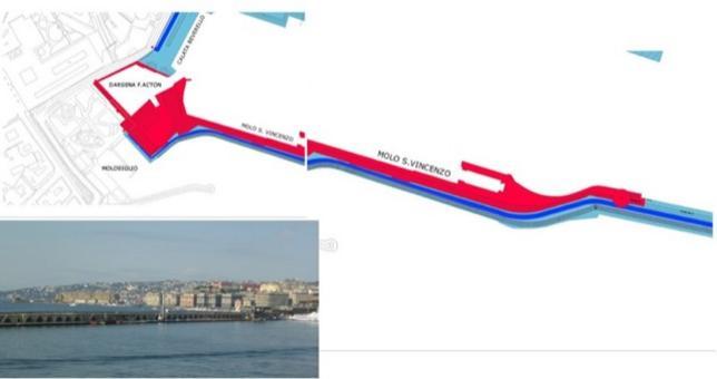 NAPOLI. Il Molo San Vincenzo .In rosso: area militare(mq. 38.200 ca, lunghezza banchina ml.540 ca). In blu: area passeggeri (mq. 256.300, lunghezza banchina ml.4100 ca.) viabilità portuale comune (da T. Colletta, 2009).