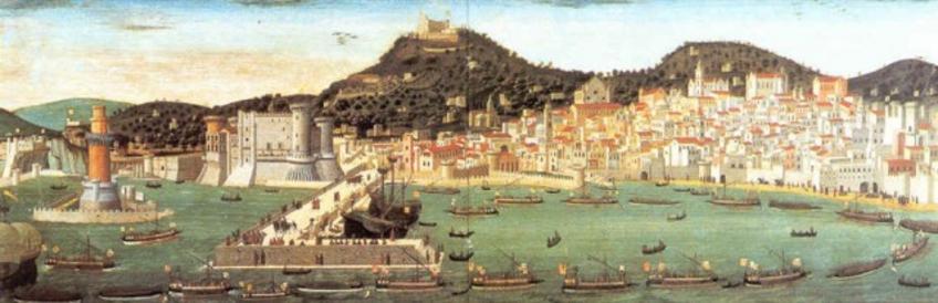 Ignoto, Tavola Strozzi,  Veduta prospettica di Napoli dal mare con il rientro delle navi da Ischia con le insegne di Alfonso d'Aragona,1473,  Dipinto su tavola, Napoli, Museo di San Martino