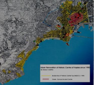 Napoli. Estensione del centro urbano di 750 ettari dichiarato patrimonio dell'umanità nel 1995 , in colore giallo, in rosa il nucleo originario greco-romano (da T. Colletta, 2006)