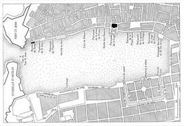 Marsiglia . Pianta del bacino portuale e dei luoghi di commercio a Marsiglia (X-XI secolo) (disegno di M. Bouiron – da T. Colletta. Città portuali…., 2012).
