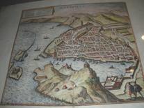 Marsiglia nel 600 in una pianta prospettica è visibile il porto dalla collina di Sain Victor.