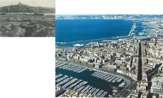 Marsiglia  città portuale: la totale demolizione dell'area portuale e la ricostruzione ex novo della città storica in torno al suo porto negli anni 'successivi  tra il '50 ed il '60.